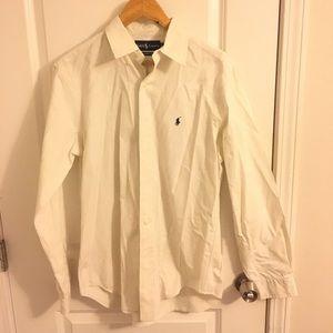 White Ralph Lauren Collared Button Down Shirt Sz M